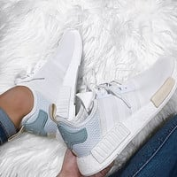 Adidas NMD  Trending  Leisure Running Sports Shoes white heel green logo