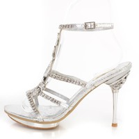 Silver Rhinestone Pendant Strappy Heels Faux Leather