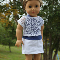 3 piece set!!! tank top, lace off the shoulder tee and white denim mini skirt 18 inch doll clothes american girl Maplelea