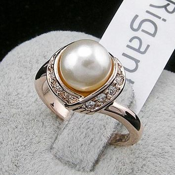 TracysWing Brand Austrian Crystal 18KRGP Wedding gold Color simulated pearl Rings for Women Vintage