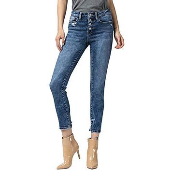 Vervet by Flying Monkey Women's Amber Mid Rise Button Fly Distressed Hem Crop Skinny Jeans