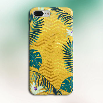 Gold Glitter Chevron x Tropical Forest Phone Case, iPhone 7, iPhone 7 Plus, Rubber iPhone Case, Galaxy s8, Google Pixel, Nature CASE ESCAPE