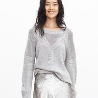Banana Republic Womens Mesh Mixed Knit Pullover