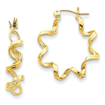 14k Fancy Spiral Hoop Earrings TE459