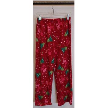 Pajama Pants Youth Girl Size L Cotton Red Christmas Trees Reindeer Snow -- Used