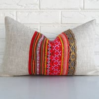 Colorful Hmong Pillow Cover - Bohemian Throw Pillow Vintage