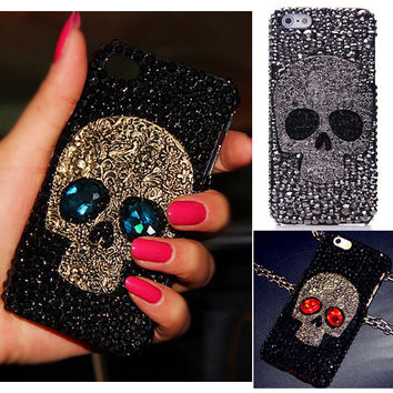 Cool 3D Skull Skeleton Blue Red Eyes Bling Capa Cases for iPhone 6 Plus 6S 6 6G 4S 5s 5 SE 5C 4s 4 luxury Rhinestone Cases