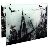 6.5 inch Frosted Glass Gothic Bats Forest Scene Home Décor Candelabra Tea Light Candle Holder