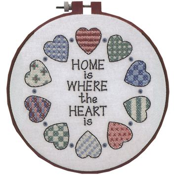 """Home & Heart Dimensions/Learn-A-Craft Stamped Cross Stitch Kit 6"""" Round"""