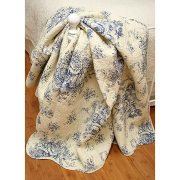 Ballard French Country Blue Toile Quilt Throw