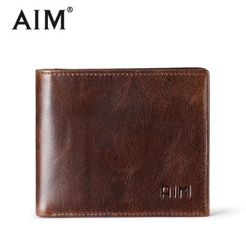 AIM Vintage Men Wallets With Card Holder Cowhide Leather Men's Purse Bifold Design Small Male Wallet With Coin Pocket SMT003FS