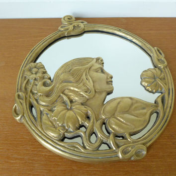 Brass art nouveau mirror
