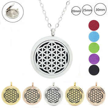 Chain as gift! 316L stainless steel magnetic 20mm 25mm 30mm aromatherapy necklace essential oil diffuser locket necklace