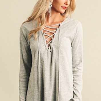 Striking Out Top - Grey