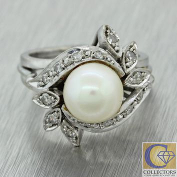 1940s Antique Art Deco 18k White Gold 8mm Pearl Diamond Floral Cocktail Ring