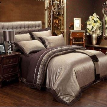 Jacquard Silk bedding set queen king 6/4pcs Brown Embroidered