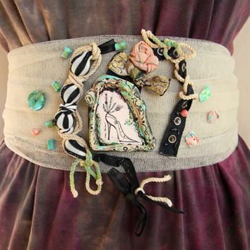 Steampunk belt couture textile waist belt upcycled fashion pastel eclectic wearable art shoe eco whimsical mint beige black leather peach