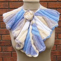 Handknitted Ruffled Scarf, Multicolor Cowl, Collar, Rose, Women Scarf, Fashion, UK Seller