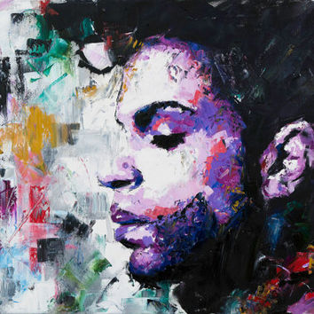 "Prince (Musician), 52"", 60"" Large Original Painting, Art, Painting, Music, Palette Knife, Canvas, Abstract, Worldwide Shipping, Richard Day"