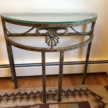 Demi Lune Glass Top Metal Entry Accent Table
