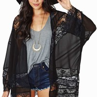 Sheer Caress Lace Kimono - Black