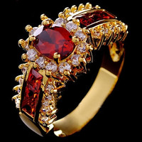Fashion Women's Wedding Size 7/8/9/10 Ruby & CZ 18K Yellow Gold Filled Ring [9145127238]