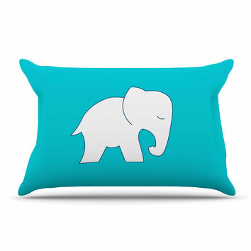 "NL Designs ""Cute Blue White Elephant"" Animals Blue Pillow Sham"
