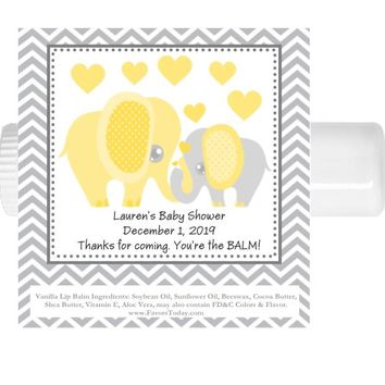 15 Yellow Elephant Baby Shower Lip Balm Favors