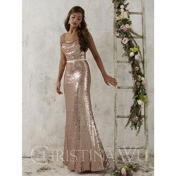 Christina Wu 22706 Spaghetti Strap Full Sequin Floor Length Bridesmaid Dress