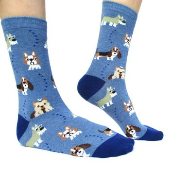French Bulldog Cesky Yorkshire Terrier Basset Hound Novelty Dog Print Socks for Women in Blue