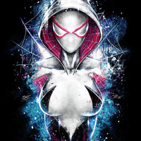 Spiderman Spider Gwen Inspired Epic Portrait Painting and Design by JP Perez and Barrett Biggers Premium Quality Giclee Archival Print