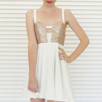 Dress Sequin Cut Out Bustier White Gold