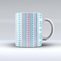 The Pink Green Teal Vertical Pattern ink-Fuzed Ceramic Coffee Mug