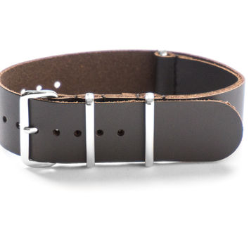 LEATHER NATO STRAP DEEP BROWN