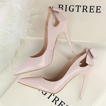 New summer Spring Elegant Pumps High-heeled Shoes Bow Patant Leather Thin High Heels S
