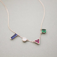 925 Sterling Silver Geometric Shape cubic necklace, 4 color Cubic Zirc