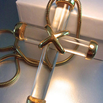 Clear Lucite Large Cross Pendant Necklace, Gold Trim, Snake Chain, Vintage