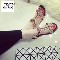 2018 Woman Sandals Women Shoes Rhinestones Crystal Chains Thong Gladiator Flat Sandals Chaussure