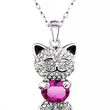 "Cute ""Lucky Cat"" With SWAROVSKI ELEMENTS Crystal Pendant Necklace Women Valentines Day Gifts for Her"