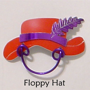 Red Hat and Purple Feather Magnetic Eyeglass Holder