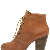 Steve Madden Raspy Cognac Leather High Heel Ankle Boots