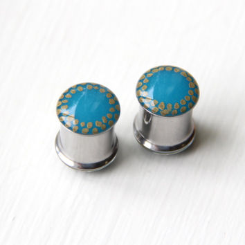 """Turquoise Ear Gauges, Unique Plugs 7/16, Hand painted, Teal Resin Plugs - size 7/16"""""""