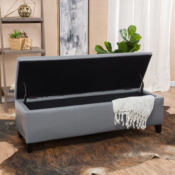 Skyler Grey Leather Storage Ottoman Bench