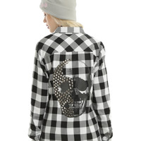 Black & White Plaid Studded Skull Girls Woven