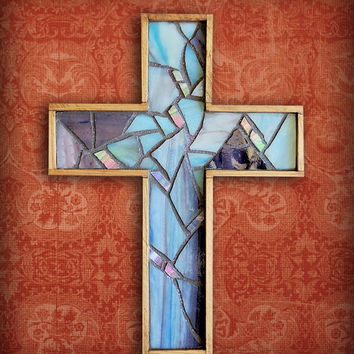 Handmade Rustic Wall Cross, Blue Hanging Cross, Blue Purple Stained Glass Mosaic Wall cross