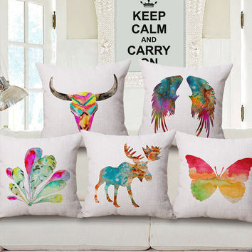 Cream Tone Multicolor Nature Lover Theme Cushion Covers for Living Room Décor