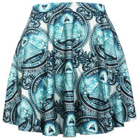 Blue Ancient Egypt Giza Pyramids Print Skater Skirt