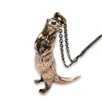 The Ultimate Otter in Solid Bronze Otter Necklace River Otter Sea Otter 400