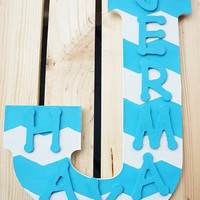 Personalized Hand Painted Turquoise and White Chevron Wooden Wall Letter Room Decor Home Decor
