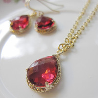 Ruby Teardrop Earrings Necklace Set - Ruby Faceted Glass, Gold Bridal Earrings Necklace, Christmas Jewelry
